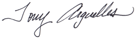Tony Arguelles Signature Graphic for the About Us page.
