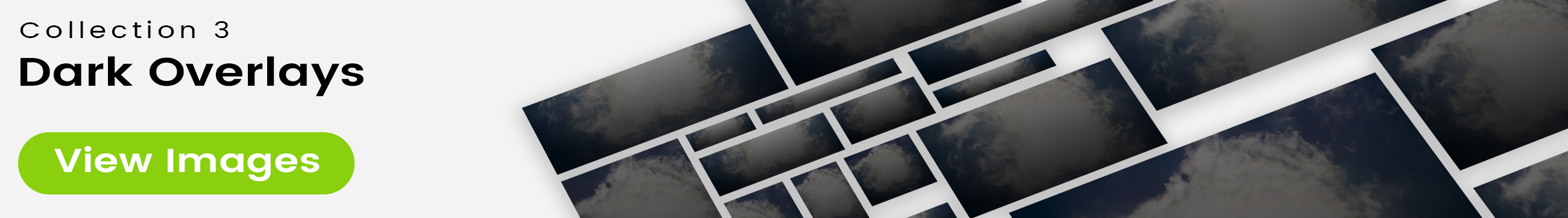 Full screen height mosaic with Photo 9477 in the background. 25 free bonus stock images from Collection 3 - Dark Overlays are on top, angled with perspective for a 3D effect, and a drop shadow for depth. Designed in Photoshop.